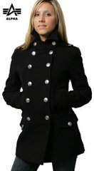 Женское пальто Alpha Industries Ladies Wool Long Pea Coat WJW37100C1 (Black)