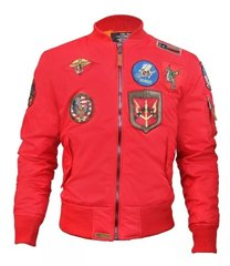 Мужская ветровка Top Gun MA-1 Lightweight Nylon Bomber Jacket With Patches TGJ1540P-S (Red)