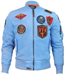 Мужская ветровка Top Gun MA-1 Lightweight Nylon Bomber Jacket With Patches TGJ1540P-S (Light Blue)