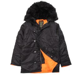 Зимняя куртка аляска Alpha Industries Slim Fit N-3B Parka MJN31210C1 (Black/Orange)